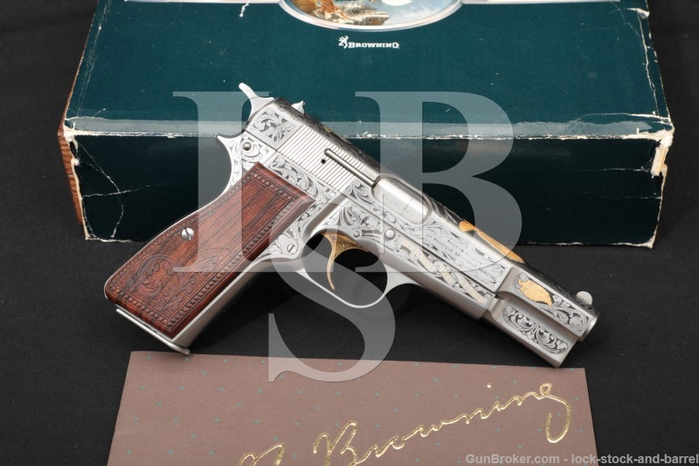 Browning FN Hi High Power Gold Classic Engraved 9mm Semi-Auto Pistol, 1985 281 of 500 Satin Gray & Gold Commemorative ATF C&R