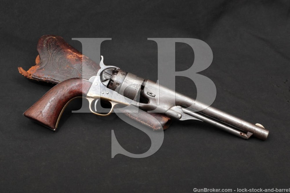 Colt Model 1860 Army .44 Cal Percussion Cap & Ball Revolver, 1863 Antique Commercial with E.L. Gallatin & Co Slim Jim Holster