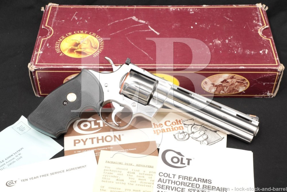 "Colt Python Model I3061 Bright Stainless 6"" .357 Magnum Revolver, MFD 1990"