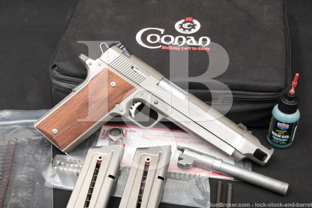 Coonan .357 Magnum Stainless 5 INCH 5.5 INCH Comp Semi-Auto Pistol, 1977-94