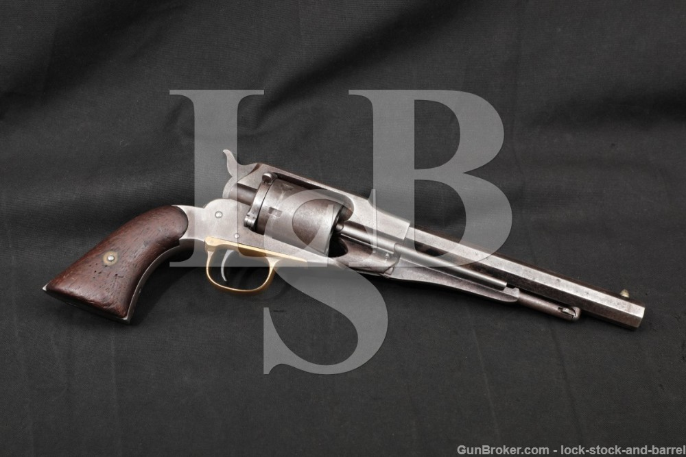 "Remington Improved Model Navy .38 Cal 7.5"" Cartridge SA Revolver Antique"