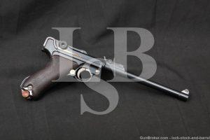 WWI German DWM Long P.08 Artillery Luger 9mm Semi-Auto Pistol, MFD 1917 C&R