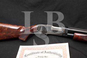 A. Bee Engraved Pigeon Up-Grade Winchester Model 12 20 GA Pump Shotgun, C&R