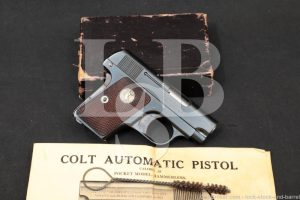 "Colt Model 1908 Vest Pocket 2"" Blued .25 ACP Semi-Auto Pistol, MFD 1926 C&R"