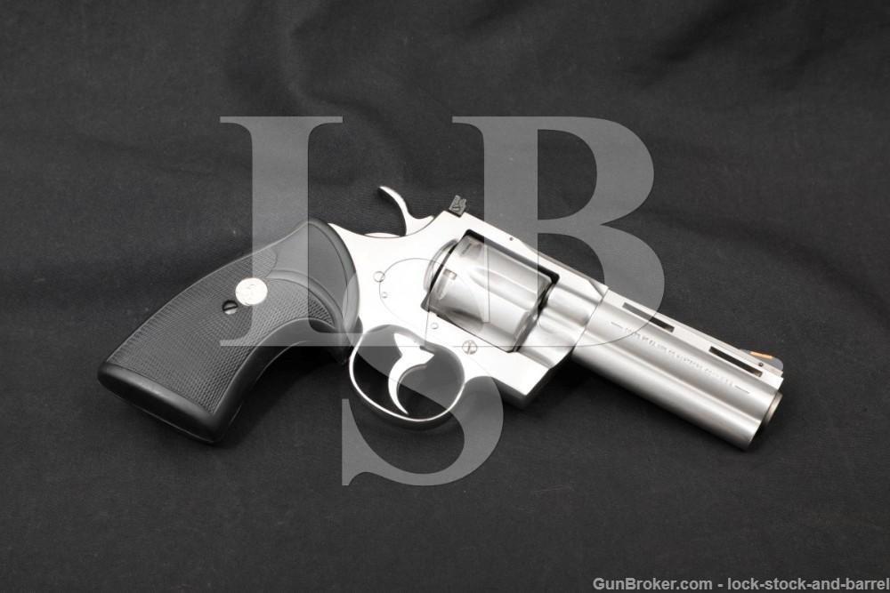"""Colt Python Model I3040 Stainless 4"""" .357 Magnum SA/DA Revolver, MFD 1995"""