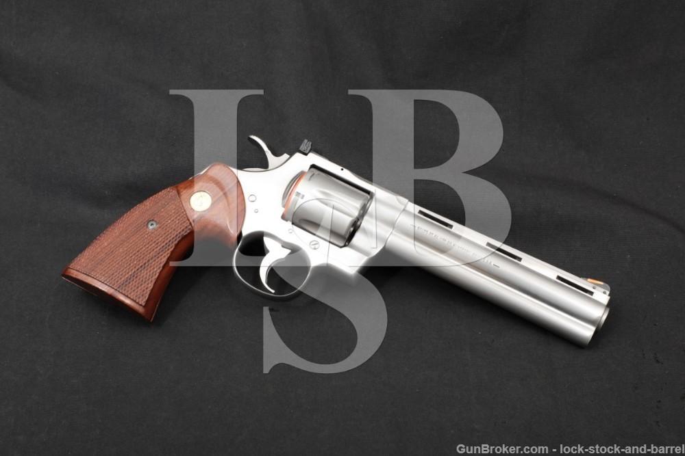 """Colt Python Model I3060 Stainless 6"""" .357 Magnum SA/DA Revolver, MFD 1988"""