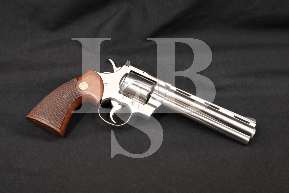 "Colt Python Model I3661 Nickel 6"" .357 Magnum Double Action Revolver, 1972"