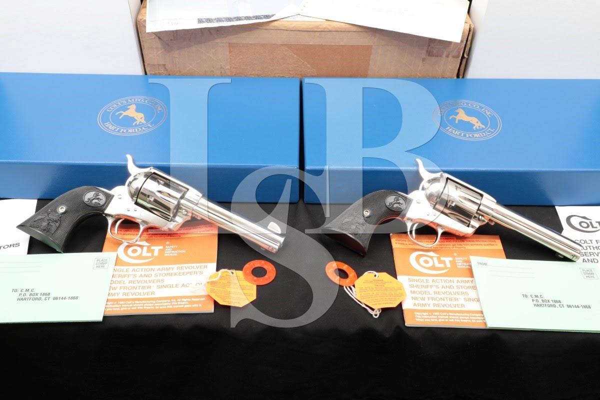 Consecutive Pair Colt Single Action Army SAA Nickel .45 Revolvers, MFD 1997