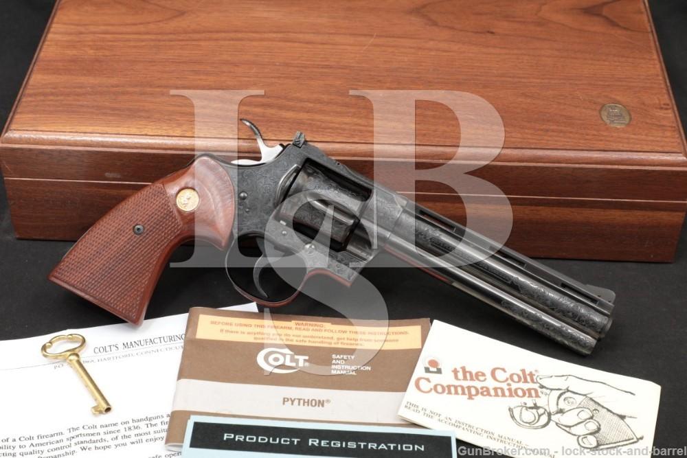 M.E. Gouse Engraved Colt Python Blue 6″ .357 Magnum Revolver, 1978 NO CA