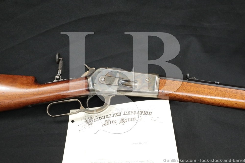 "1st Year Winchester 1886 '86 .40-82 WCF 26"" Lever Rifle & Letter, Antique"