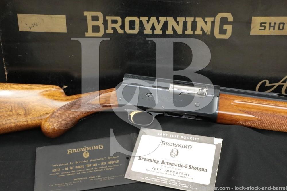 Browning Auto 5 A5 A-5 Light Twelve 12 GA Semi-Auto Shotgun & Box, 1965 C&R