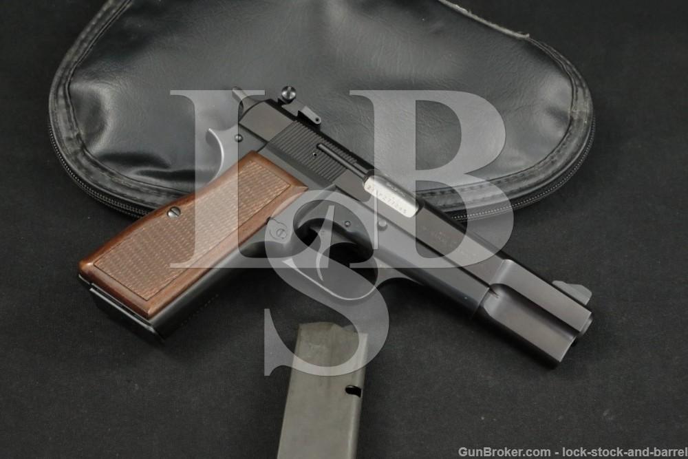 """Browning FN Hi Power 9x19mm 4 5/8"""" Blue Semi-Automatic Pistol, MFD 1981"""