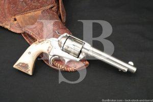 Colt Bisley Model Single Action Army SAA Nickel .45 ACP Revolver, 1910 C&R