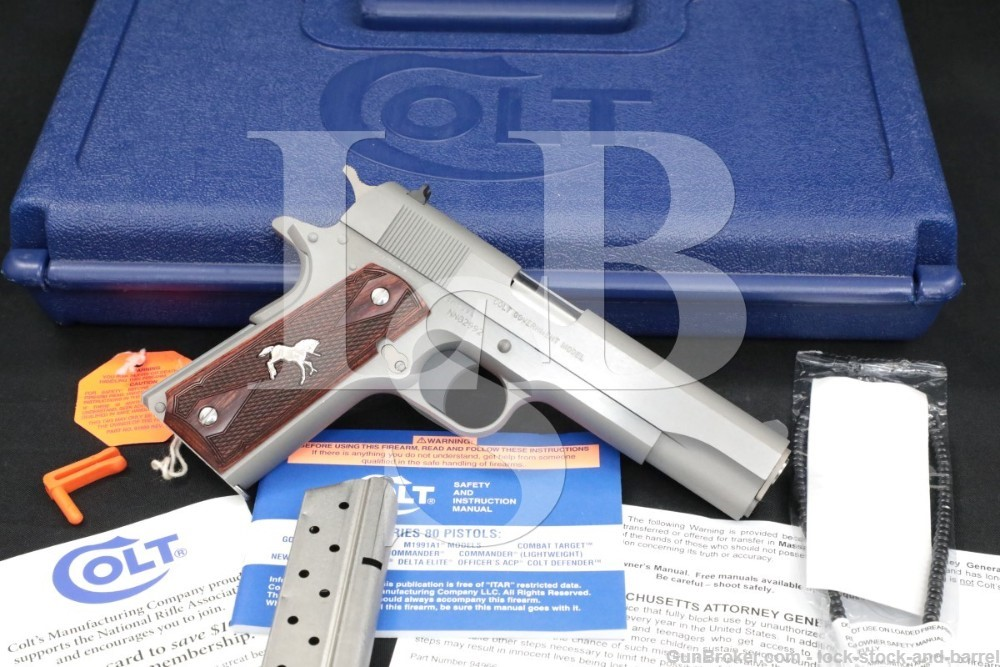 """Colt Government Model 0 01092 9mm 5"""" 1911 Stainless Semi-Auto Pistol"""