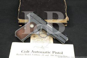 Colt Model 1903 Type IV Pocket Hammerless .32 ACP Semi-Auto Pistol 1932 C&R