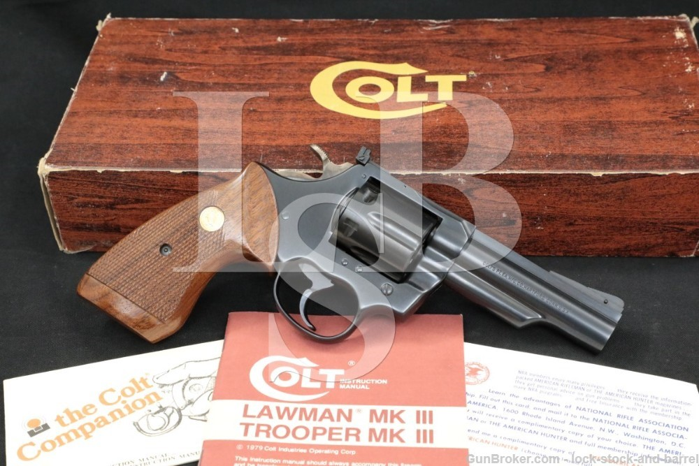 "Colt Model Mk III MKIII Trooper, .22 LR 4"" SA/DA Revolver, MFD 1980"