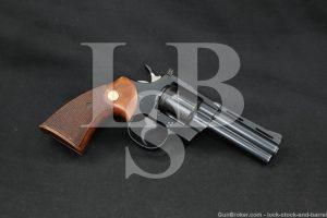 "Colt Python Model I3640 Blue 4"" .357 Magnum Double Action Revolver 1967 C&R"