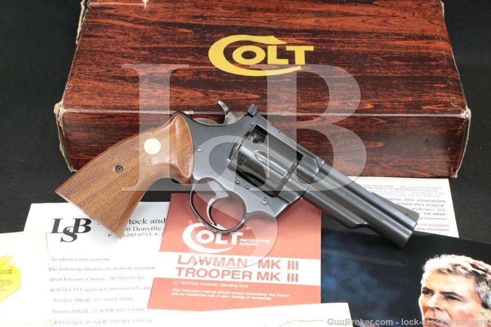 "James Darrens Colt Trooper MK III MKIII .22 Magnum 4"" Revolver, MFD 1979"