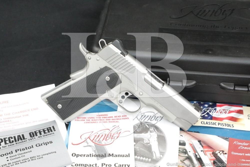 "Kimber Stainless Pro Carry II 2 .45 ACP 4"" 1911 1911A1 Semi-Auto Pistol"