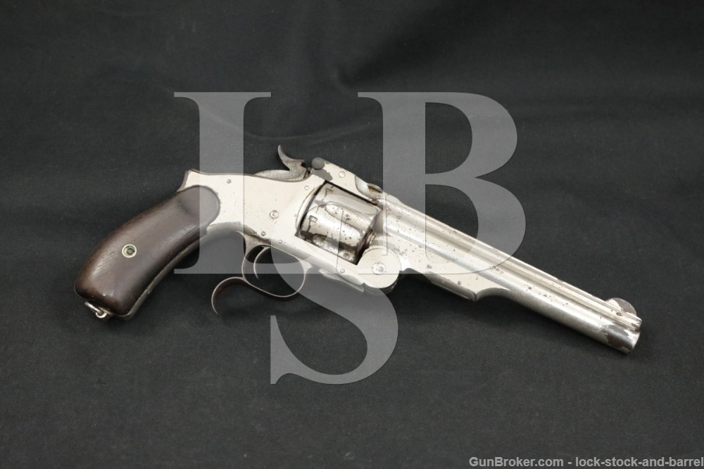 "Smith & Wesson S&W 3rd Model Russian .44 6.5"" Nickel Revolver Antique"