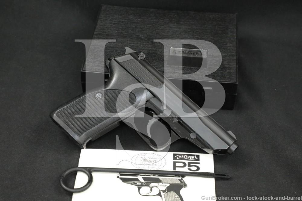 "Walther Model P5 P-5 9mm Luger 3.5"" Matte Blue Semi-Automatic Pistol, 1986"
