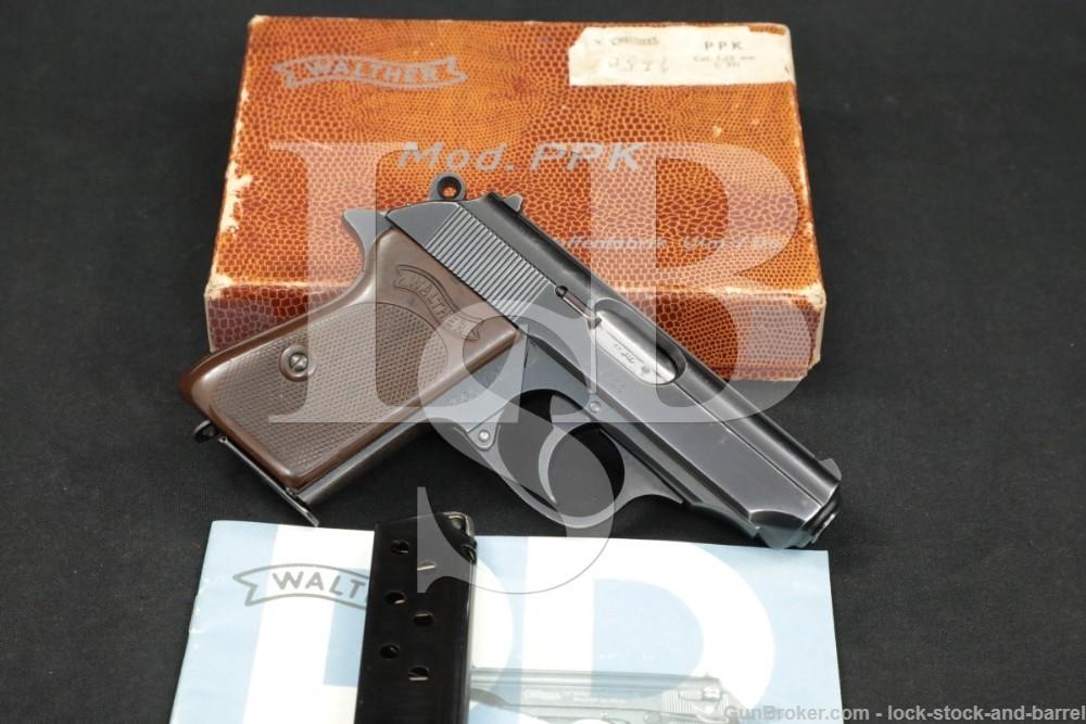 "Walther Model PPK 7.65mm .32 ACP 3 3/8"" Blue Semi-Automatic Pistol MFD 1965"