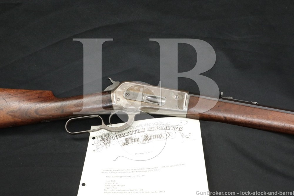 Winchester 1886 '86 26″ .45-90 WCF Lever Rifle & Letter, MFD 1898 Antique