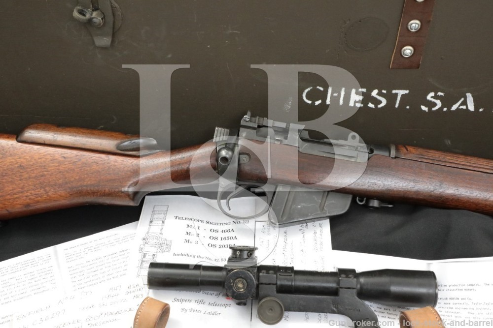 Enfield No4 MkI T Sniper Rifle Scope 303 British Bolt Action Wood Crate C&R