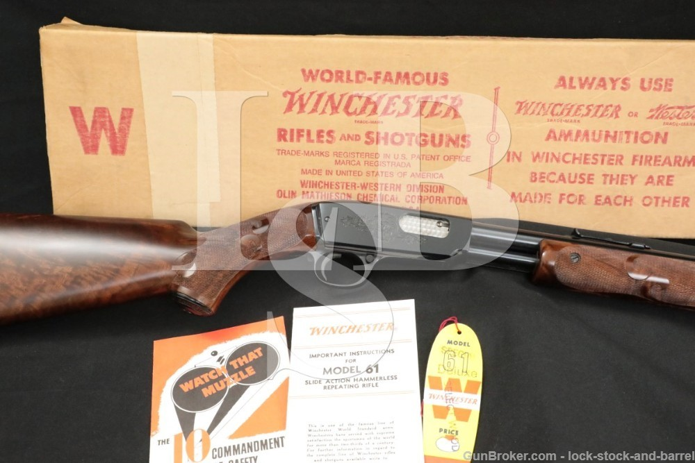 """Engraved Winchester Model 61 Deluxe .22 Short 24"""" Pump Action Rifle C&R"""