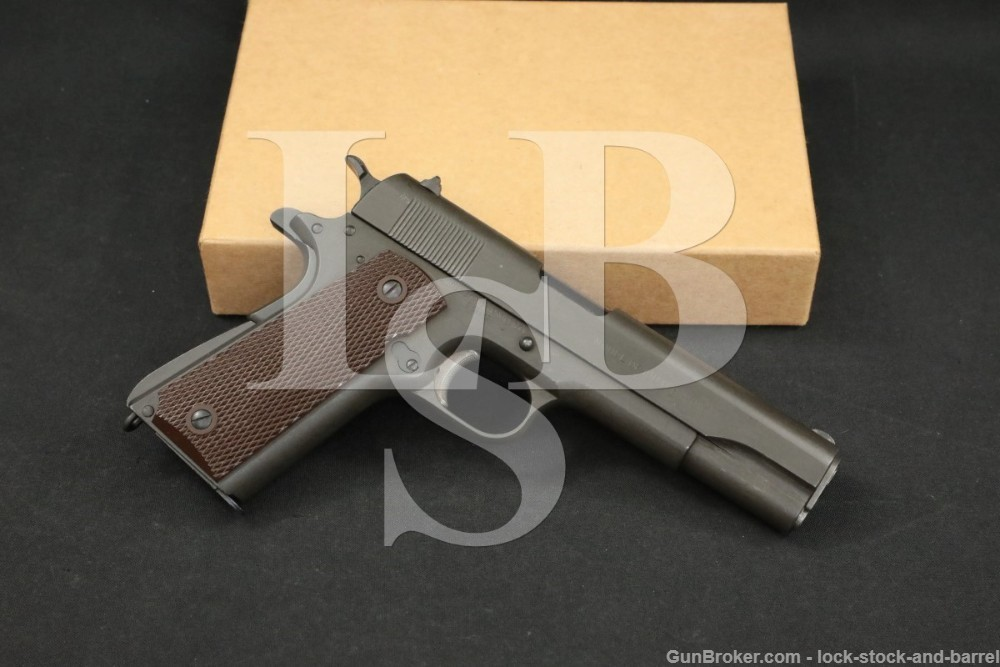 """LSB#: 210419MB21  Make: Colt frame, A.J. Savage slide  Model: 1911  Serial Number: 528628  Year of Manufacture: 1918 (https://colt.com/serial-lookup)  Caliber: .45 ACP  Action Type: Single Action Semi-Auto with Removable Magazine  Markings: The left of the frame is marked with an eagle's head over """"""""S6"""" inspection mark, the left of the trigger guard is marked """"66"""". The right of the trigger guard is marked """"S"""" in circle (believed to be an R.F. Sedgley marking). The right of the frame is marked """"UNITED STATES PROPERTY / No 528628"""" and """"C"""". The top of the frame is marked """"H"""" and """"G"""" around the disconnector. The right side of the slide is marked """"MODEL OF 1911. U. S. ARMY"""". The left side of the slide is marked """"PATENTED DEC.19.1905 / FEB.14.1911. AUG.19.1913 / COLT'S PT. F.A. MFG. CO."""" and with an """"S"""" inside a flaming bomb (A.J. Savage marked, see Our Assessment). The left link-lug of the barrel is marked """"S"""" and """"P"""". The top of the magazine floorplate is marked """"L"""".   Barrel Length: 5""""  Sights / Optics: The front sight is a rounded blade staked to the front of the slide. The rear sight is a """"V""""-notch dovetailed to the rear of the slide.   Stock Configuration & Condition: The grips are two-piece checkered brown plastic with reinforcement ribs on the inside and large reinforcement rings around the grip screws. The grips have no notable wear or damage, only light handling marks. The checkering is sharp. There are no chips or cracks. Overall, the grips are in about Excellent condition as not original to the gun.  Type of Finish: Parkerized  Finish Originality: Refinished, possibly Arsenal Refurbished  Bore Condition: The bore is mostly bright with sharp rifling. There is some light erosion in the bore at the muzzle.    Overall Condition: This pistol retains about 93% of its current metal finish. The finish is generally strong throughout with scattered minor nicks, scuffs and scratches. The action shows operational wear. There is infrequent minor surface oxidation. The scre"""