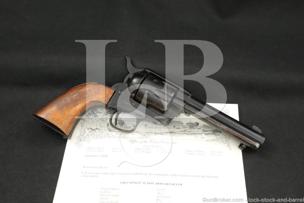 Colt Single Action Army SAA 1st Generation .45 Revolver, MFD 1874 Antique