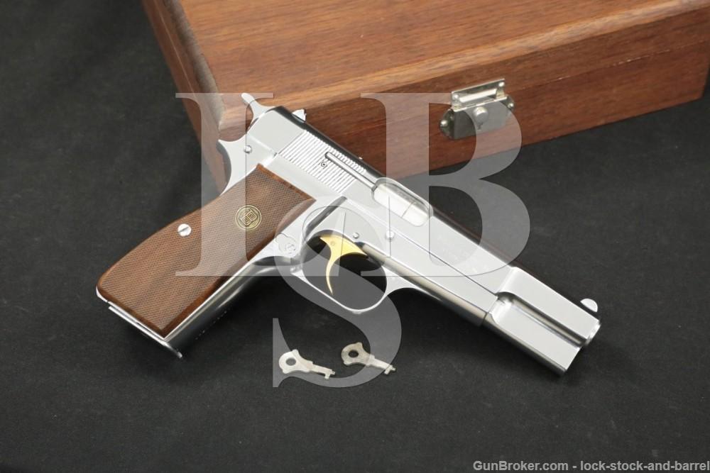 FN Browning Hi Power Centennial 9mm Nickel Semi-Automatic Pistol, MFD 1978