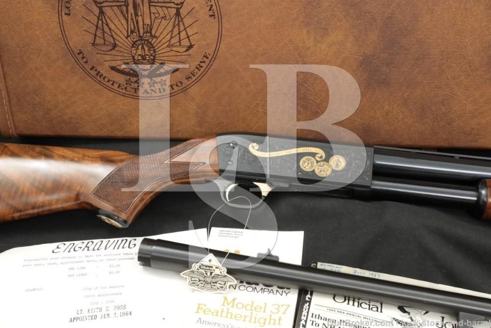 Ithaca Model 37 LAPD 12 GA 28″ 18 1/2″ Engraved Pump Action Shotgun, 1981