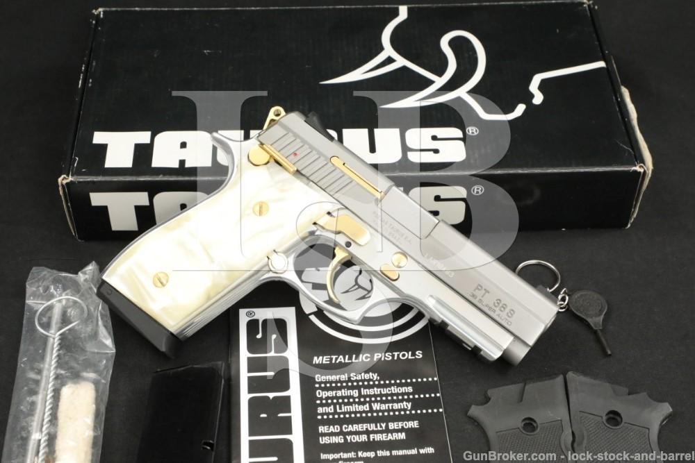 Taurus Model PT38S PT-38-S Stainless & Gold .38 Super Semi-Automatic Pistol