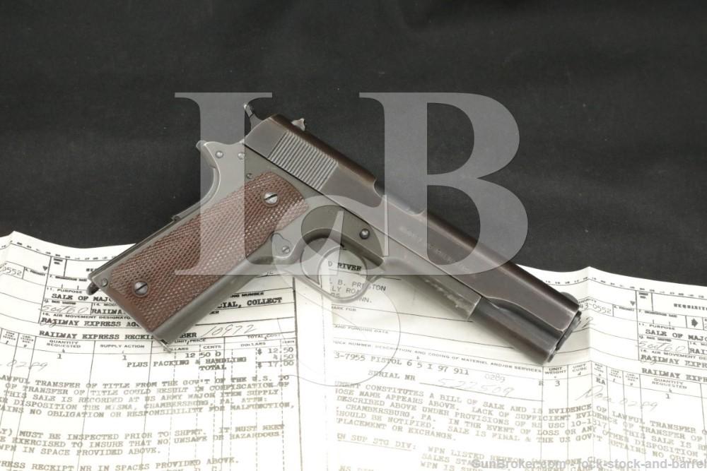 WWI Colt Model of 1911 U.S. Army .45 ACP Semi-Automatic Pistol MFD 1918 C&R