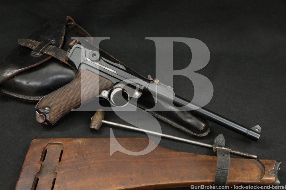 WWI German Erfurt P.08 Long Artillery Luger 9mm Semi-Auto Pistol, 1914 C&R