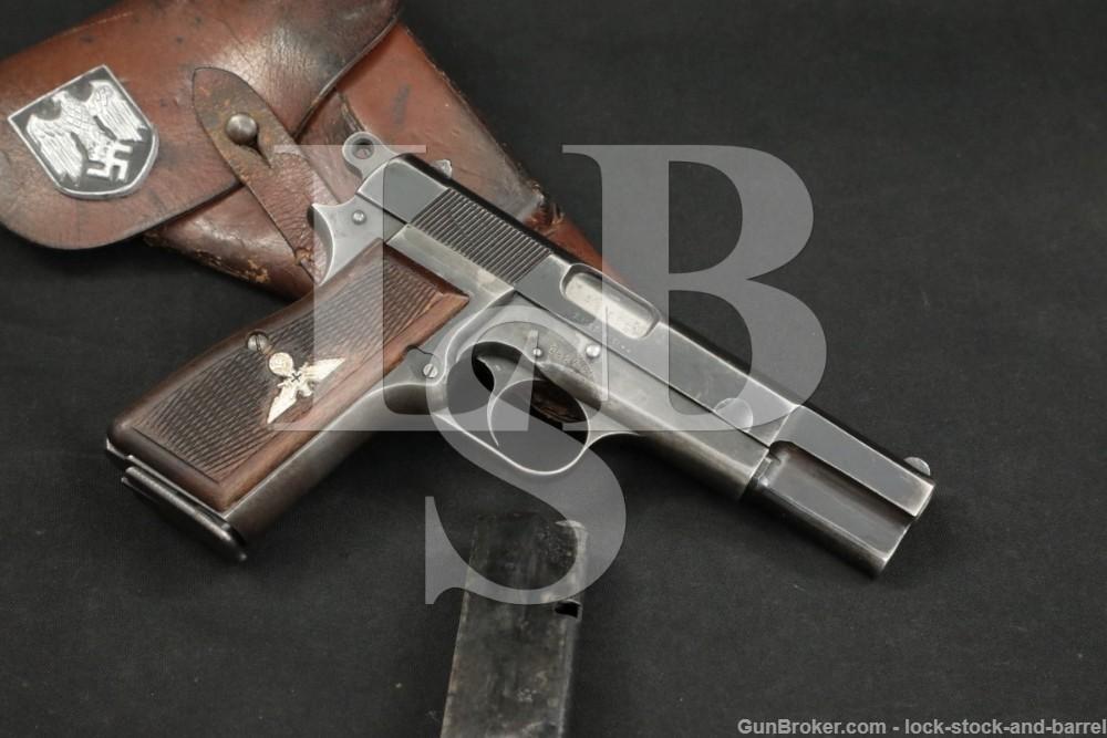 WWII FN Browning Nazi Hi-Power WaA140 9×19 Semi-Auto Pistol, 1942-1943 C&R