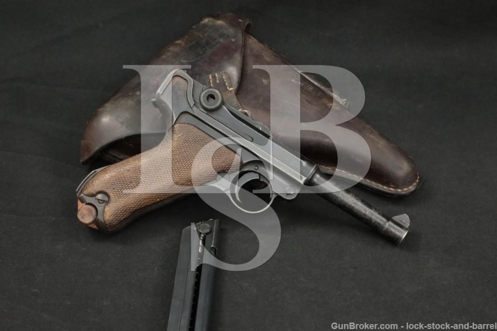 British Proofed WWI DWM P.08 P08 P-08 9mm Luger Semi-Auto Pistol, 1917 C&R