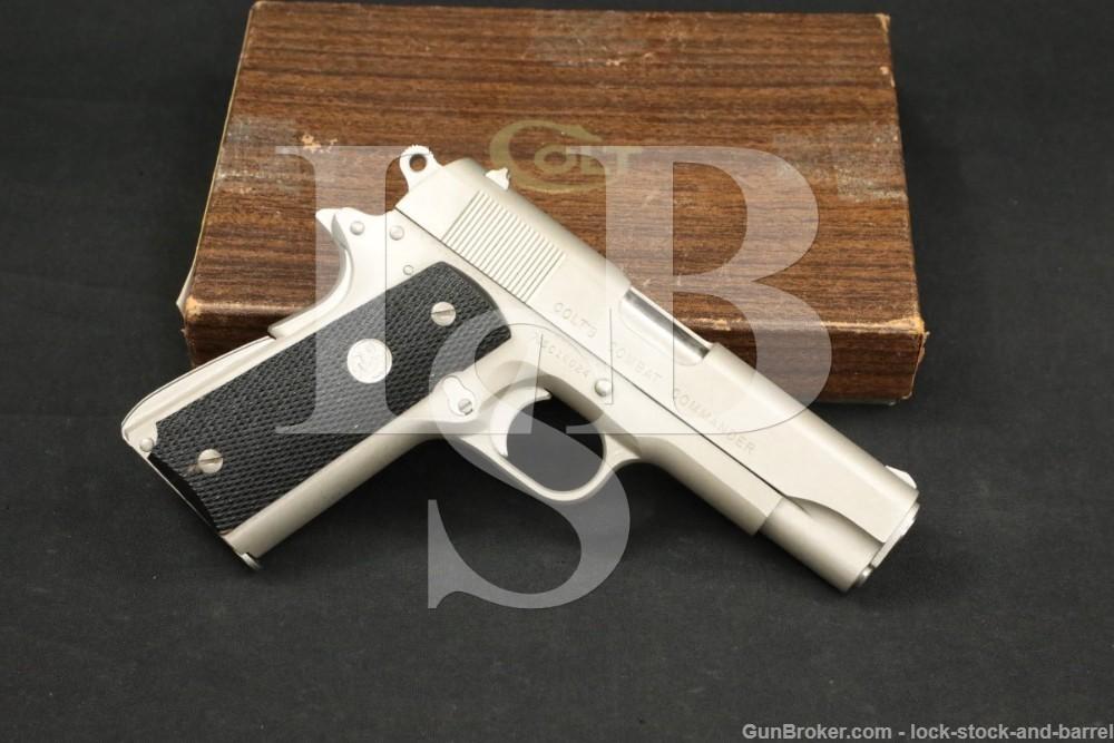 Colt Combat Commander Satin Nickel .45 ACP Semi-Automatic Pistol, MFD 1972
