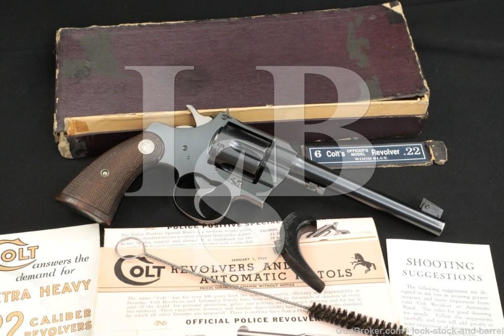 "Colt Officers Model Target 3rd Issue, Blue 6"" DA Revolver & Box, MFD 1938"