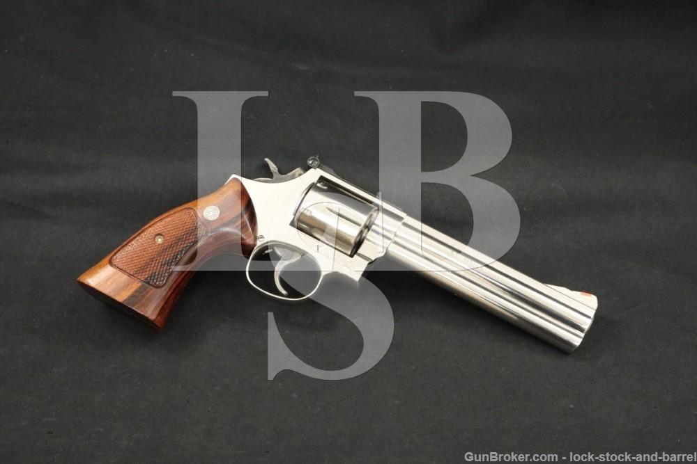 """Smith & Wesson S&W Model 586-3 .357 Mag 6"""" Nickel DA/SA Revolver 1988"""