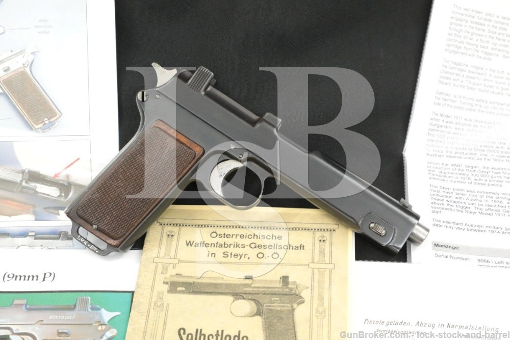 Steyr-Hahn Model 1912 9mm Luger 08 Marked Semi-Automatic Pistol, 1916 C&R