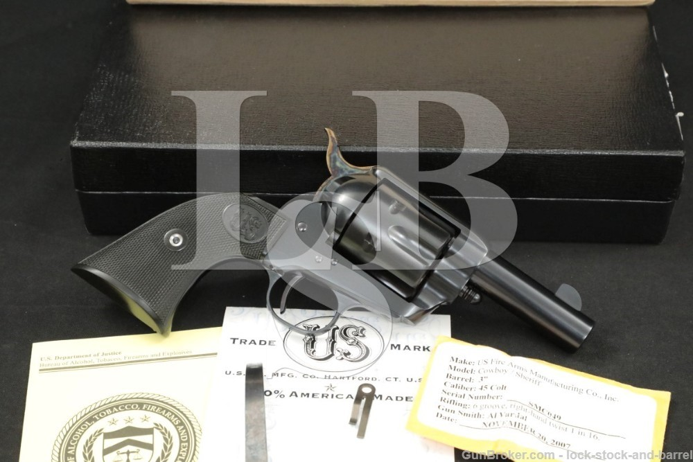 "U.S. Firearms USFA Cowboy Sheriff 3"" .45 Colt SAA Single Action Revolver"