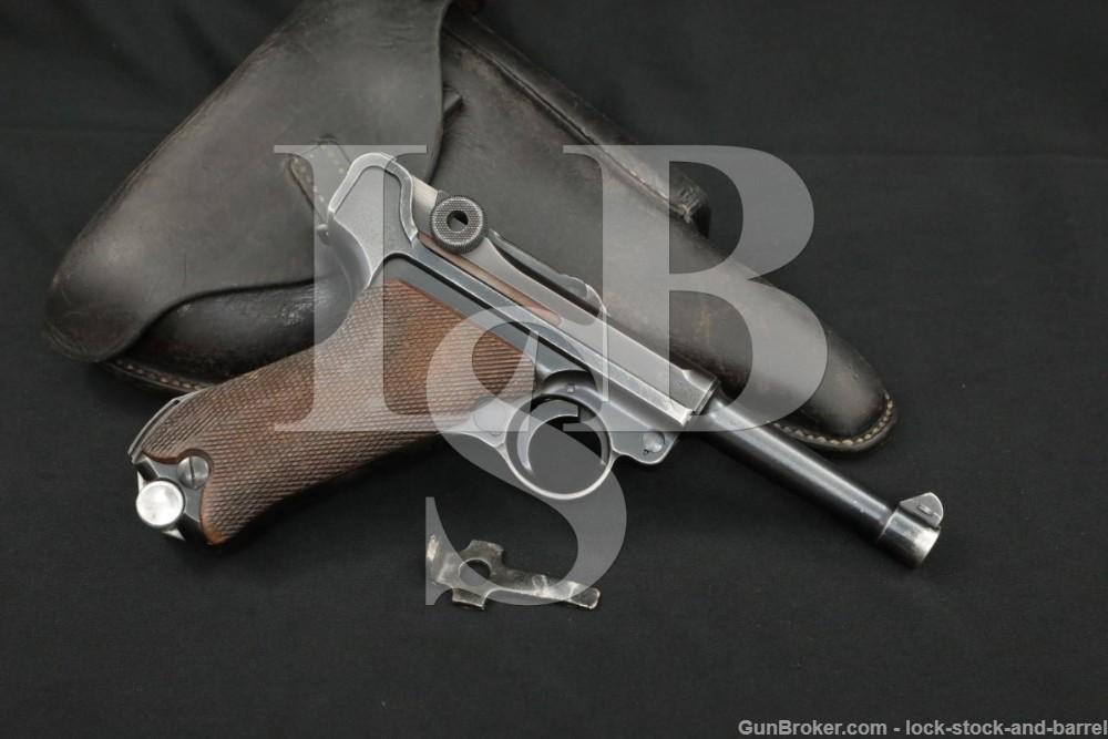 WWII Nazi German Mauser 42 P.08 P08 9mm Luger Semi-Auto Pistol, 1940 C&R