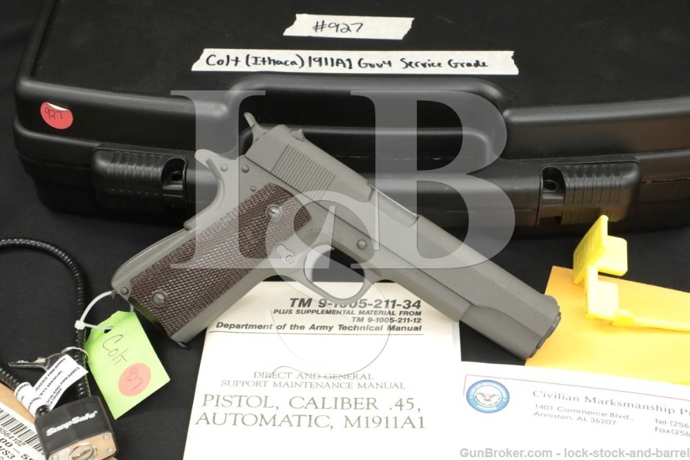 CMP Service Grade Colt Ithaca 1911A1, .45 ACP Semi-Auto Pistol & Cert. C&R