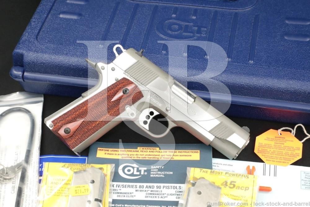 "Colt Combat Commander Model 1911 .45 ACP 4.25"" Stainless Semi Auto Pistol"