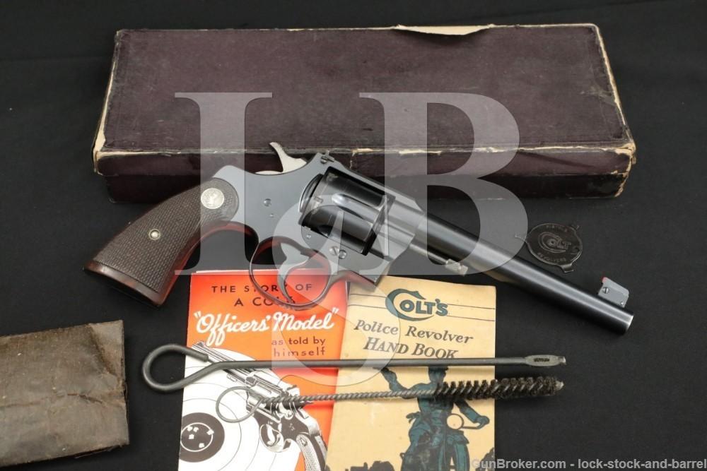 Colt Officers Model Target Heavy Barrel .38 SPL Revolver & Box MFD 1936 C&R