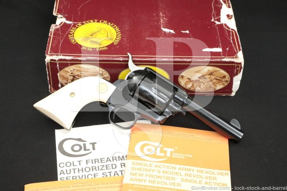 "Colt Storekeeper SAA .45LC 4"" Blue Single Action Army BPF Revolver & Box"