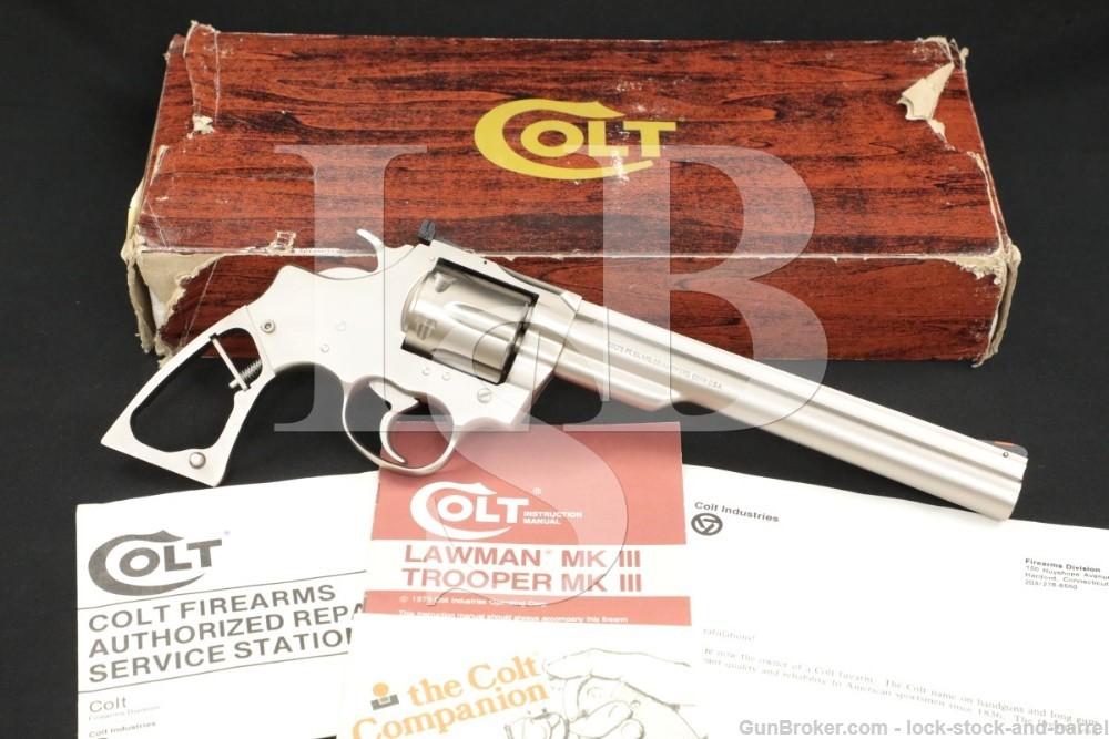 "Colt Trooper MKIII MK III .22 LR 8"" Electroless E Nickel Revolver & Box"