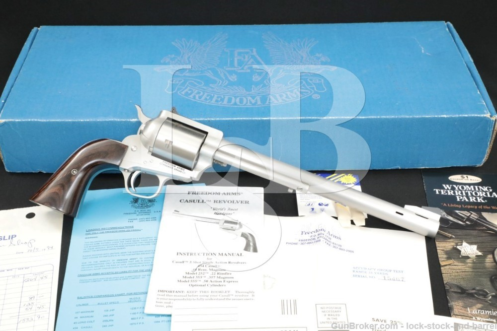 """Freedom Arms Model 83 .454 Casull 10"""" MagnaPort Single Action Revolver 1994"""